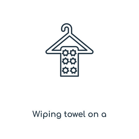 Wiping towel on a hanger concept line icon. Linear Wiping towel on a hanger concept outline symbol design. This simple element illustration can be used for web and mobile UI/UX.