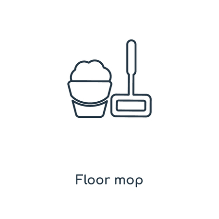 Floor mop concept line icon. Linear Floor mop concept outline symbol design. This simple element illustration can be used for web and mobile UI/UX.