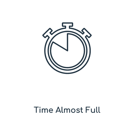 Vektor für Time Almost Full concept line icon. Linear Time Almost Full concept outline symbol design. This simple element illustration can be used for web and mobile UI/UX. - Lizenzfreies Bild