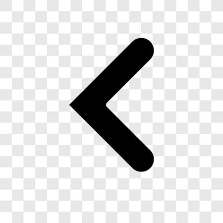 Ilustración de Left arrow vector icon isolated on transparent background, Left arrow transparency logo concept - Imagen libre de derechos