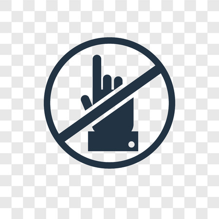 No touch vector icon isolated on transparent background, No touch transparency logo concept