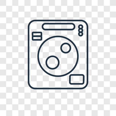 Washing machine cleanin concept vector linear icon isolated on transparent background, Washing machine cleanin concept transparency concept in outline style