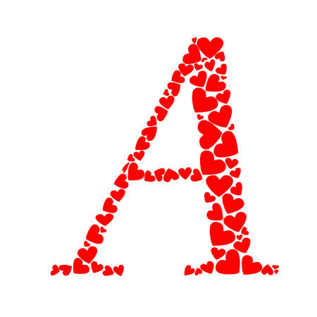 The letter A made with red hearts on white background.