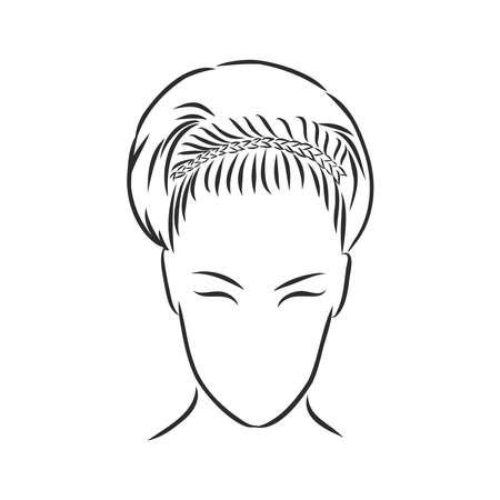Illustration pour A sketch of a female hairstyle. A freehand vector illustration. - image libre de droit