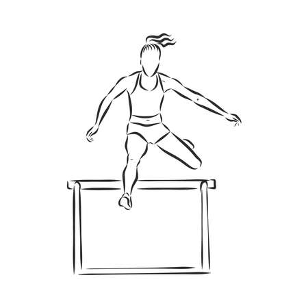 Photo for A sprinter leaping over a hurdle in a hurdle race. Hand drawn vector illustration. - Royalty Free Image