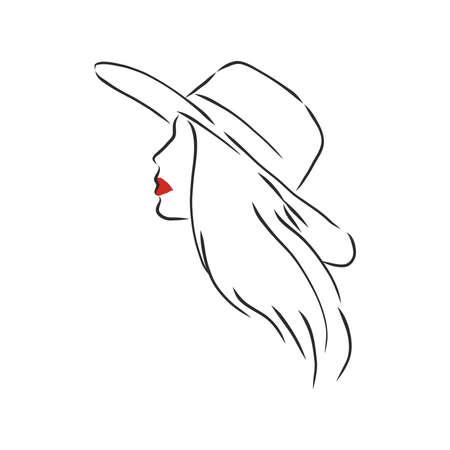 Illustration pour Silhouette of beautiful woman in a elegant hat. Vector - image libre de droit