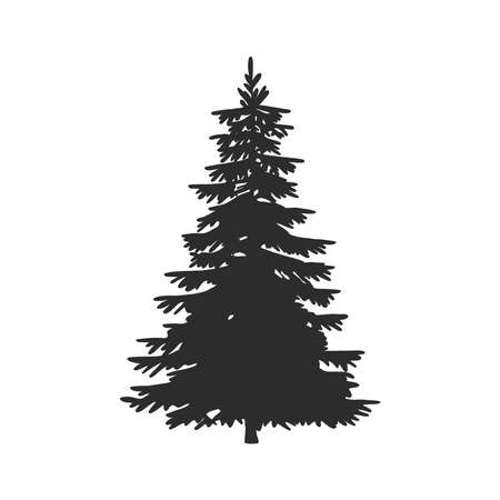 Illustration pour Tree, Christmas fir tree, black silhouette isolated on white background. Vector - image libre de droit