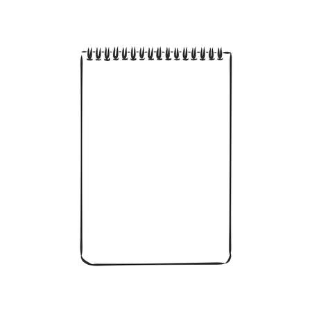 Illustration for Sketch of notebook. Vector illustration with hand drawn leaf of notebook. Clip art. Notepad with clear page - Royalty Free Image