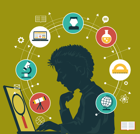 Illustration pour The concept of choosing a future profession. Icons education. Silhouette of a boy with a laptop surrounded by icons of education. - image libre de droit