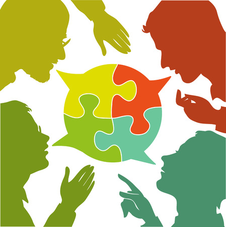 Illustration pour silhouettes of people leading dialogues with colorful speech bubbles. Speech bubbles in the form of puzzles. Dialogue and consensus. - image libre de droit