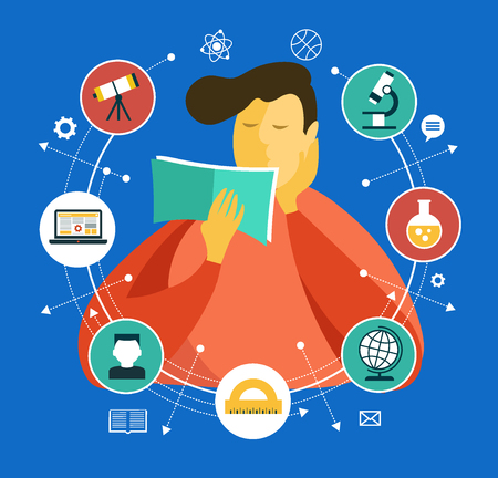 Illustration for Man with a book surrounded by education icons. Learning process. Vector graphics. - Royalty Free Image
