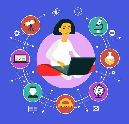 Illustration for Girl sitting with a laptop surrounded by education icons. Learning process. Vector graphics. - Royalty Free Image