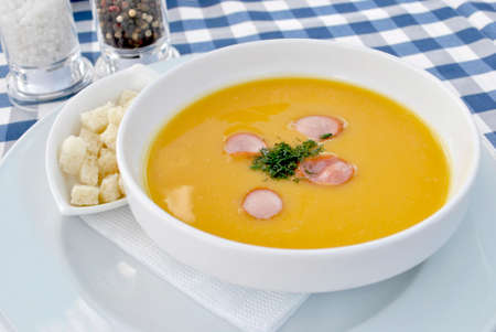 Pea soup with croutons.
