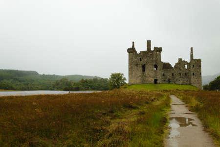 View of Kilchurn Castle from Scotland. Ancient medieval castle. Scottish landscape