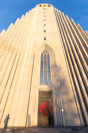 Photo pour Hallgrimskirkja church exterior view, Reykjavik landmark. Reykjavik cathedral day view - image libre de droit