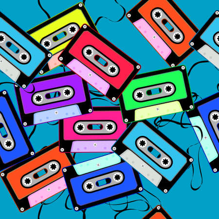 Seamless pattern with cassettes on blue background