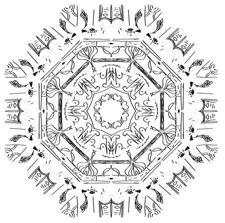 Circular abstract picture. Blackly white simple illustration.