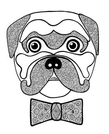 Black line cute dog head with abstract blackly white bow. Hand drawn sketch for adult and children anti stress coloring page, T-shirt, , greeting card. Animal design