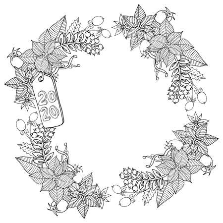 Illustration for Christmas 2020 frame or wreath  coloring book or page. Vector New Year 2020 artwork. Floral, ornate, decorative, tribal, decor, Christmas. Holiday concept. Christmas coloring book page - Royalty Free Image