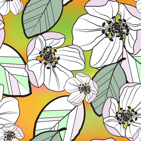 Illustration pour Beautiful seamless abstract pattern of white-lilac apple flowers and colored leaves, on orange-green gradient background, vector. Great for decorating fabrics, textiles, gift wrapping, advertising. - image libre de droit