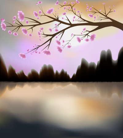 Illustration of sunset and sakura in bloom