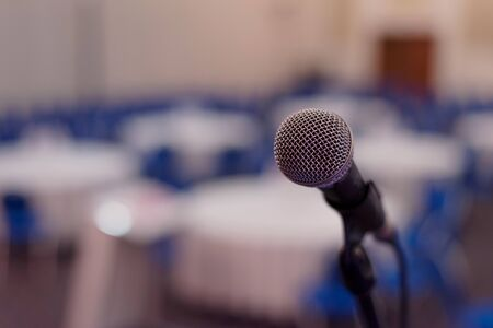 Foto für Focus on Microphone in conference room or hall, prepairing for business conference. - Lizenzfreies Bild