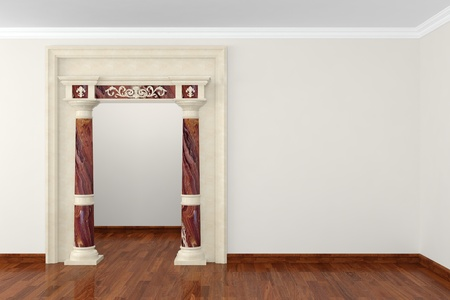 Classic portal in interior 3D rendering