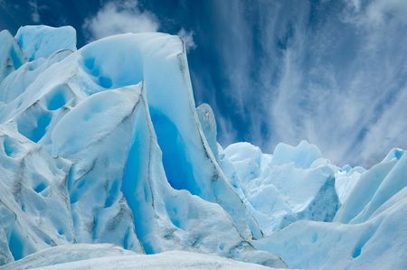 Ice forms on the surface of Perito Moreno Glacier, Patagonia, Argentina.