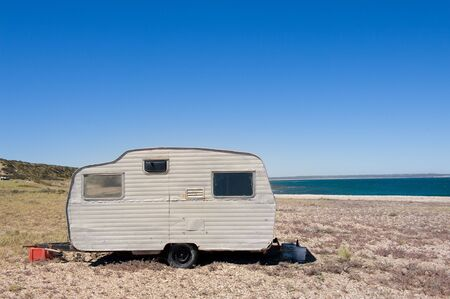 Lonely trailer by the shore, Valdes Peninsula, Patagonia Argentina.