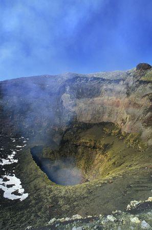 Crater of the Villarica volcano, chilean patagonia.