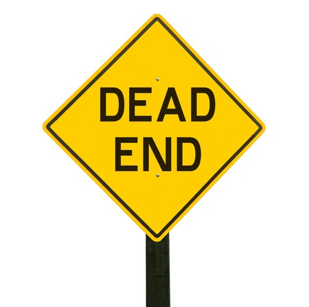 Yellow traffic sign with dead end symbol