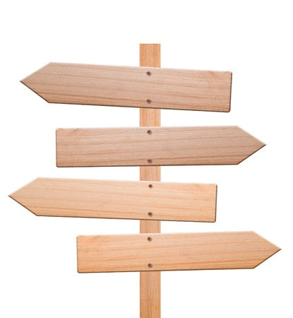 Arrow signs made out of wood isolated, with white background and clipping path.
