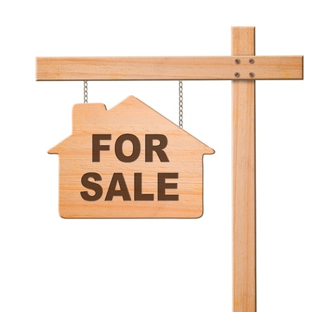Real estate sign isolated, white background