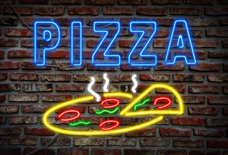 Glowing neon pizza sign on a brick wall.