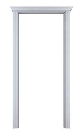 white wood doorframe on white background. digitally generated image.