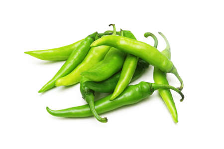 Green chili peppers isolated on white