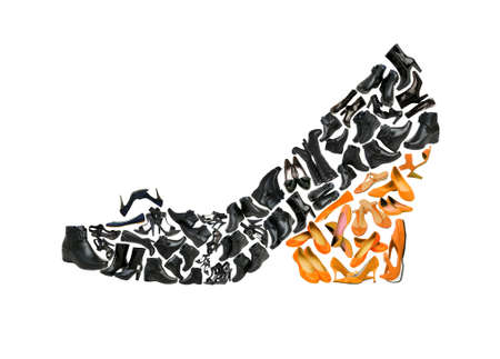 Photo for Woman shoe shape made from other shoes - Royalty Free Image