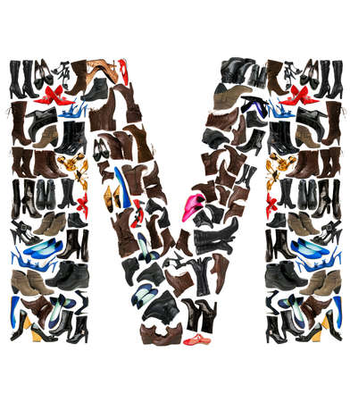 Font made of hundreds of shoes - Letter Mの写真素材