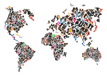World map made of hundreds of othe shoes