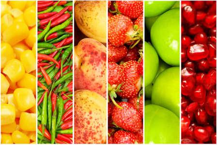 Foto für Collage of many different fruits and vegetables - Lizenzfreies Bild