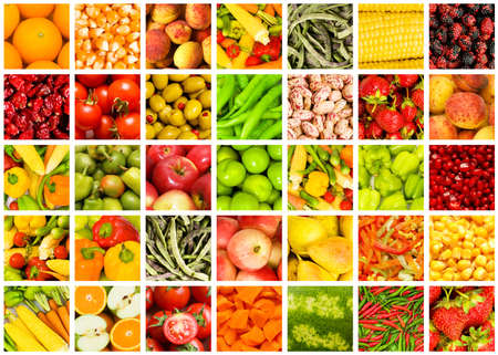 Collage of many fruits and vegetablesの写真素材