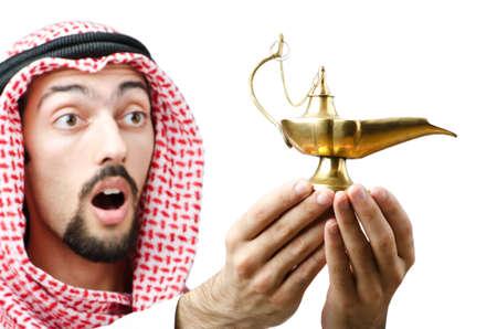Photo pour Young arab with lamp - image libre de droit
