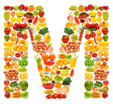 Alphabet made of many fruits and vegetablesの写真素材