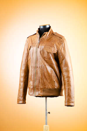 Brown leather jacket in fashion concept