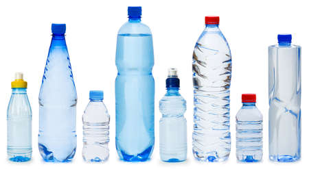Photo pour Many water bottles isolated on white - image libre de droit