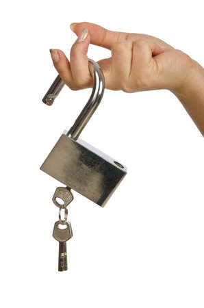 Photo pour Hand with padlock isolated on white - image libre de droit