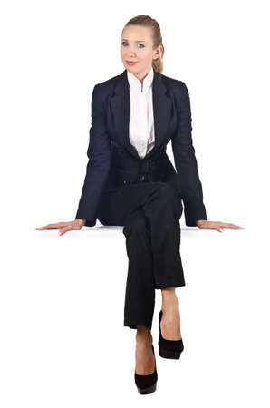 Photo for Woman businesswoman sitting on virtual wall - Royalty Free Image