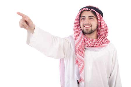 Photo pour Arab pressing virtual buttons - image libre de droit