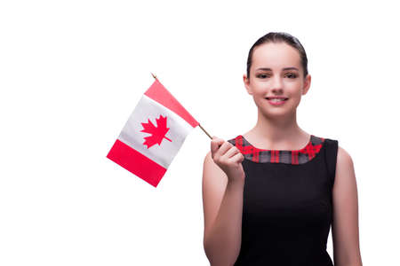 Woman holding canadian flag isolated on white