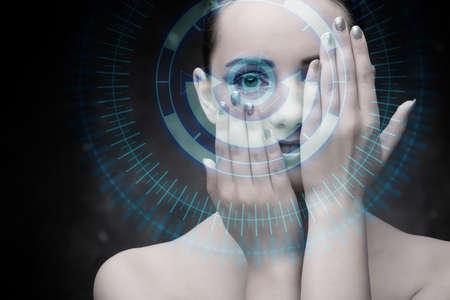 Photo pour Techno woman in futuristic concept - image libre de droit